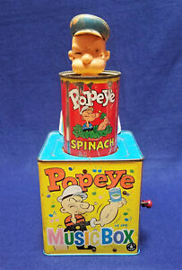 Vintage 1953 Mattel POPEYE IN THE MUSIC BOX Spinach Can Jack in the w/ SOUND