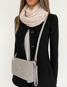 Large Grey Clutch Bag Multi Compartment Crossbody Purse Messenger Wristlet Strap
