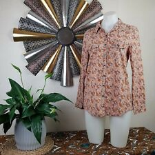 Retro Inspired Cotton On Sz M Paisley Print Button Down Top Earth Tone Collared