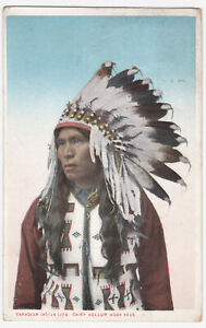 OLD 1929 POSTCARD OF CANADIAN INDIAN CANADA  CHIEF HOLLOW HORN BEAR    ONTARIO