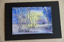New Woodland scene Twilight watercolour 21cm x 30cm unmounted unframed