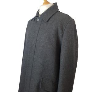 Banana Republic Mens Coat Grey Size XL Wool Smart Overcoat Vintage Long