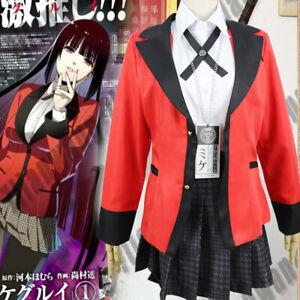 Anime Kakegurui Yumeko Jabami Uniform School Girls Cosplay Costume Halloween New