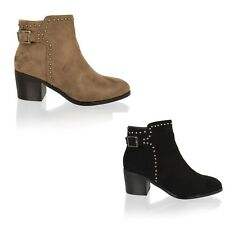 New Womens Ladies Ankle Boots Mid Block Heel Studded Casual Shoes Size