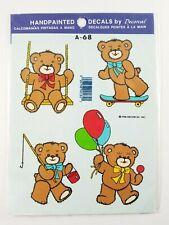1986 Decorcal Handpainted Decals Teddy Bear Skateboard Balloons Fishing