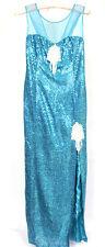Bright Blue Sequin and Bead Design Sleeveless Side Slit Formal Dress Exclusive