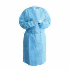 Isolation Gown Medical Dental Blue With Knit Cuff S M L Xl 10 Pack