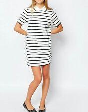 Fred Perry White Black Striped Dress Uk 14 M L Amy Winehouse Tennis Polo Strip
