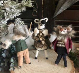 Rustic Felt Wool Elephant Lion Zebra Christmas Tree Decoration Xmas Craft Decor