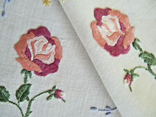 SWEET PINK ROSES Vintage Heavily Hand Embroidered Doily Pair White