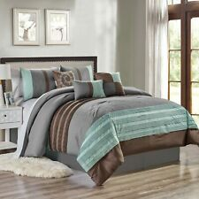 7 Piece Marinko Embossed and Pleated Comforter Set Bed-In-A-Bag (Queen, Blue)
