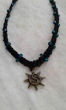 Sun Charm Hemp Necklace Handmade Black Glass Beads Choker