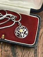 """925 Sterling Silver & Citrine type Stone Pendant Chain Necklace 18"""" 46cm ( D1B)"""