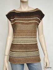 Nwt $139 Ralph Lauren Linen/Cotton Striped Knit Vest Top Sweater Cami ~Brown *L