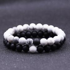 2pcs Distance Couple Bracelet Natural Stone Beads Lovers Matte Agate Black&White
