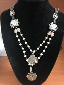 Super Vintage Love Heals Necklace- Pearls /Leather