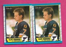 2 X 1989-90 OPC  # 45 BLUES CLIFF RONNING  ROOKIE NRMT-MT CARD (INV# D1573)