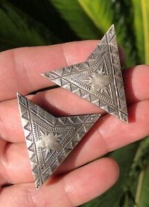 Vintage Southwestern Native American Sterling Silver Stamped Cowboy Collar Tips