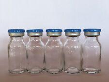 (5) Sealed Sterile 10mL Glass Vials FLIP TOP EZ OFF blue