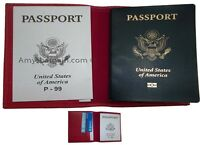 2 New USA Leather passport case wallet credit ATM card case ID holder Brand New