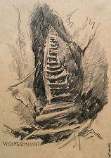 """Karl Ernst Hansel 1868-1947 Dresda/disegno """"Wolf burrone"""" (Hockstein) 1944"""