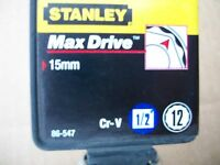 NEW STANLEY 1/2 in Drive 15 mm MAX DRIVE 12 POINT SOCKET