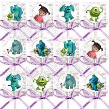 Monsters Inc. Disney Pixar Movie Lollipops w/ Lavender Bows Party Favors -12 pcs