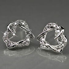 EARRINGS STUD 9K SOLID WHITE GOLD FILLED MADE WITH SWAROVSKI CRYSTAL HEART
