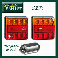 SQUARE TRAILER TAIL STOP LIGHTS LED LAMP INDICATOR SUBMERSABLE LICENCE PLATE