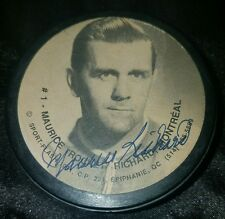 Maurice Richard THE ROCKET Autographed Montreal Canadians hof PHOTO Puck vintage