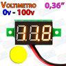 Mini Voltimetro 100v AMARILLO DC display 0,36 3 hilos digital voltmeter led
