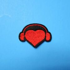 Red Heart Headphones, I Love Music Patch Iron-On/Sew-On Embroidered Applique, DJ
