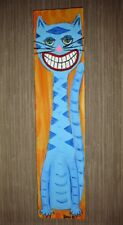 Retro Happy CatListed artist Dan C Outsider Folk artCat original painting
