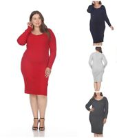 White Mark Long Sleeve Plus Size Sweater Dress for Women Midi Pullover