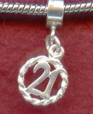 Sterling Silver 21st Birthday Charm Number 21 solid 925 New European style