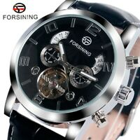 FORSINING Tourbillon Day Date Leather Strap Men Automatic Mechanical Wrist Watch