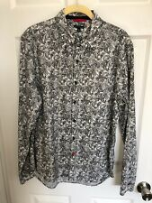 Sons Of Intrigue Black Paisley Print  Button Front Shirt Men's Size M Cotton