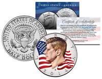 Colorized * FLOWING FLAG * 2014 JFK John F Kennedy Half Dollar U.S. Coin D Mint