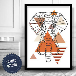 ABSTRACT GEOMETRIC Orange Brown ELEPHANT Wall Art PRINT picture Poster