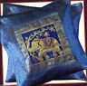 PAIR (TWO) OF SILK BROCADE PILLOW/CUSHION COVER BLUE COLOR FROM INDIA