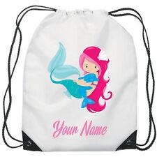 Personalised Mermaid Dolphin Gym Bag PE Dance Sports School Swim Bag Waterproof