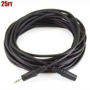 """25FT 3.5mm 1/8"""" TRS Stereo Male to Female AUX Audio Extension Cable Cord Black"""