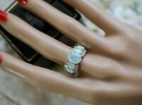 Vintage Jewellery Gold Ring With Opal White Sapphires Antique Deco Jewelry R 9