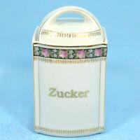 Antique German Porcelain Kitchen CANISTER SUGAR ZUCKER Roses Black/Gold c1900
