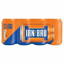 8 Pack IRN-BRU Soft Energy Drink Cans 330ml 34g Sugar FULL SUGAR FULL FAT