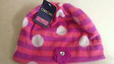 Cherokee Fleece Girls Hat Pink Purple Polka Dots and Flowers Size 8-16 Toddler