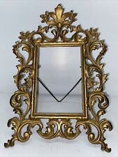 Vtg Antique Solid Metal Ornate Victorian Picture Frame Easel - Brass Plated Iron