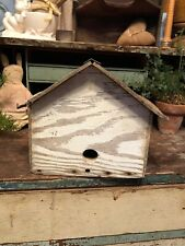 Vintage Handmade Wooden Birdhouse Cabin Bird Home House Chippy White Paint.