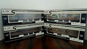 "K-LINE ~STREAMLINERS ~ O GAUGE ~  PENNSYLVANIA  ""FLEET OF MODERNISM"" ~ LOT OF 4"