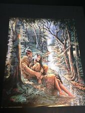 """Indian Lovers In Woods Large 16"""" X 20"""" Picture Print New In Lithograph"""